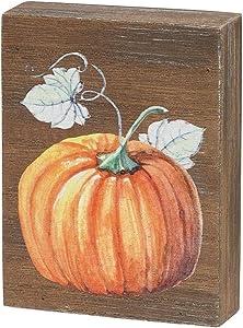 Collins Painting Mini Fall-Themed Wood Grain Block Sign (Pumpkin)