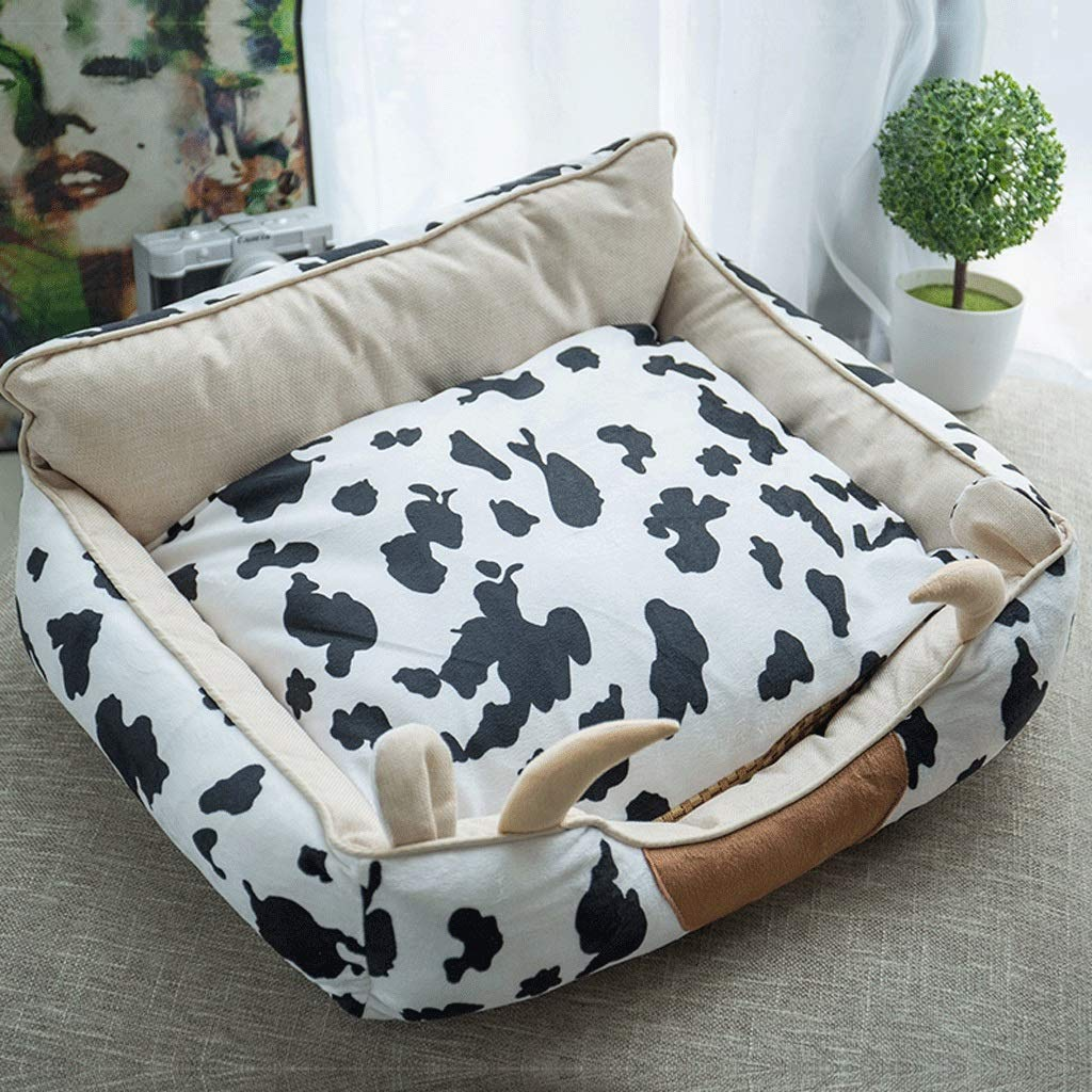 Black and White M (6050CM) Black and White M (6050CM) Pet Bed Four Seasons Universal Removable Washable Pet Nest to Send Pillows Small Dogs Warm Pet Supplies A+ (color   Black and White, Size   M (60  50CM))