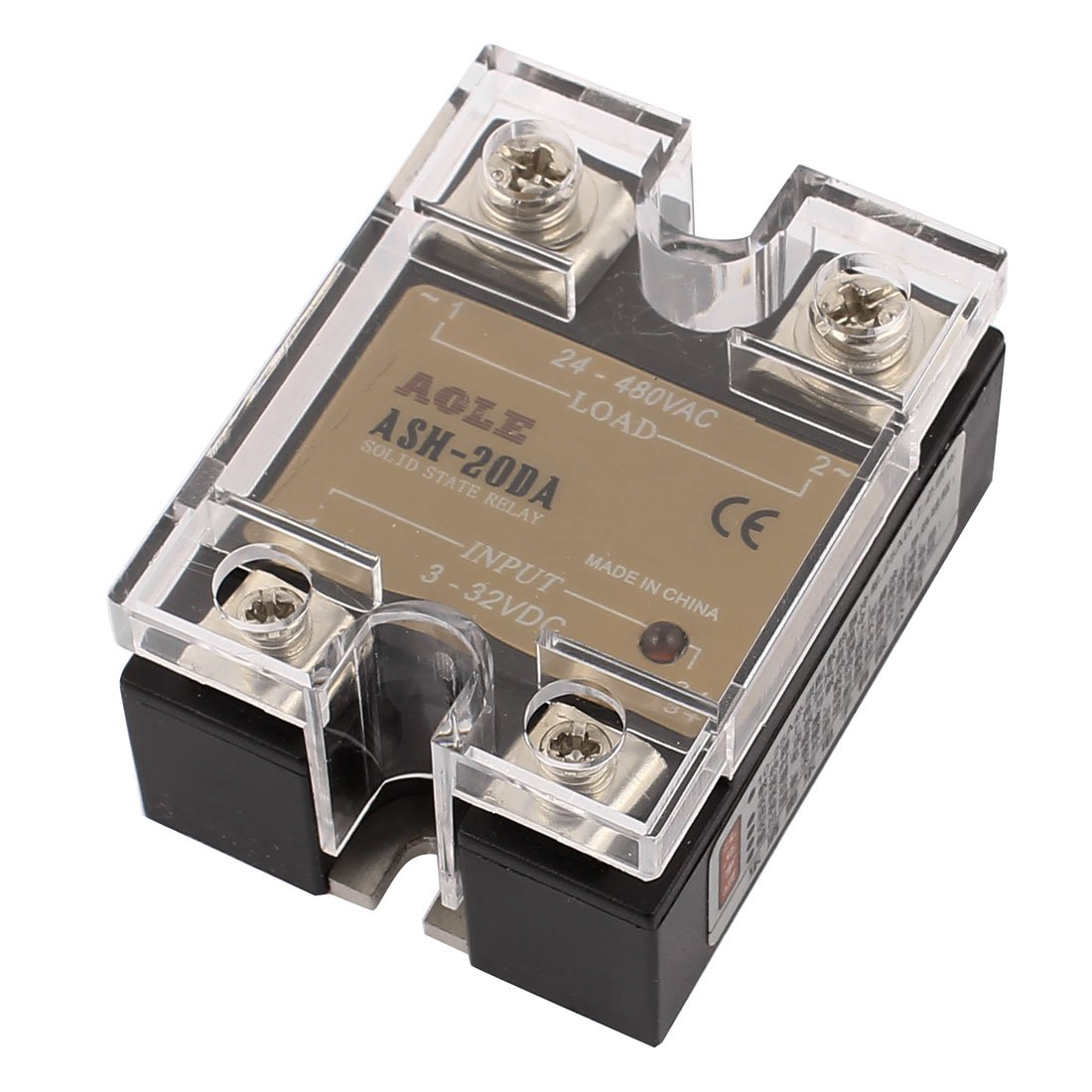 sourcingmap® ASH-20DA 3-32VDC to 480VAC 20A Single Phase Solid State DC to AC Relay Authorized a16081800ux0773