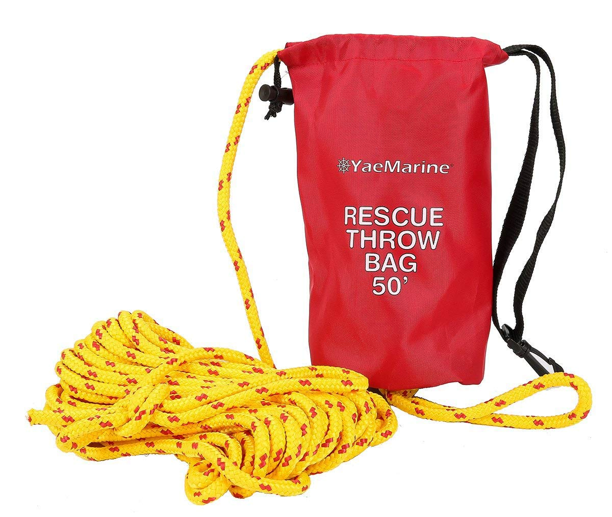 YaeMarine Rescue Throw Bag, Rescue Rope Throw Bag with 50 Feet Floating Rope for Boating Kayaking Ice Fishing Sailing
