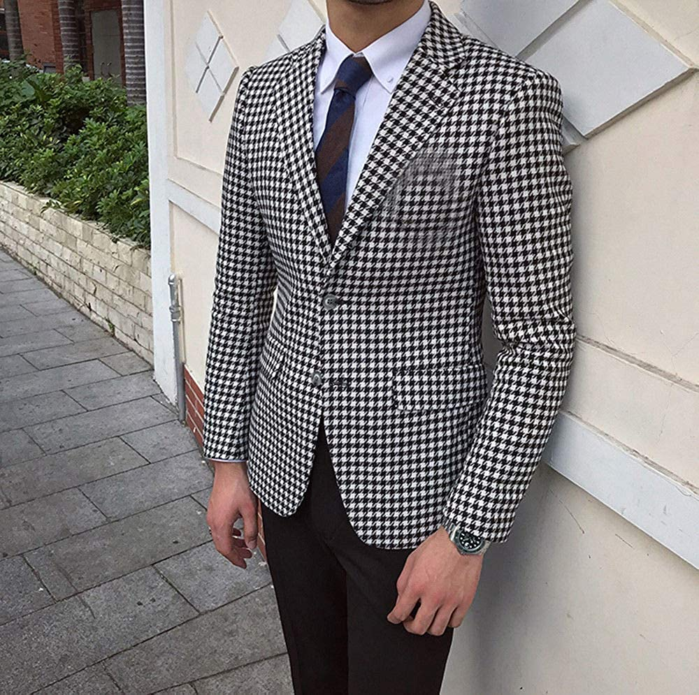Premium Houndstooth Dogstooth Plaid Slim Fit Tuxedo Prom Wedding Groom Suits