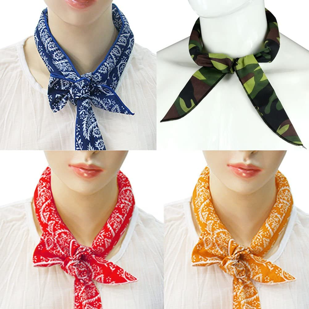 Pack of 4, The Elixir Ice Cool Scarf Neck Wrap Headband Bandana Cooling Scarf, 5 Pcs Value Pack (Camouflage, Black, Blue, Orange, Red, Green)