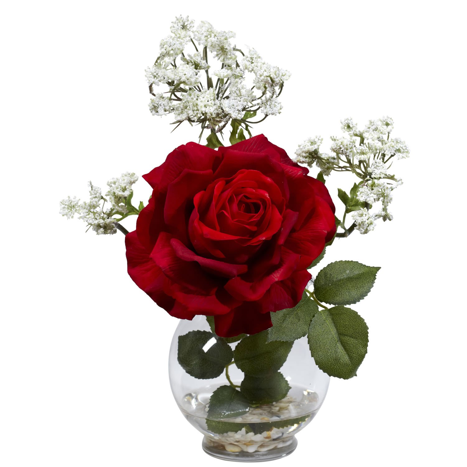 Nearly Natural 1282 Rose and Gypso with Fluted Vase Silk Flower Arrangement, Red