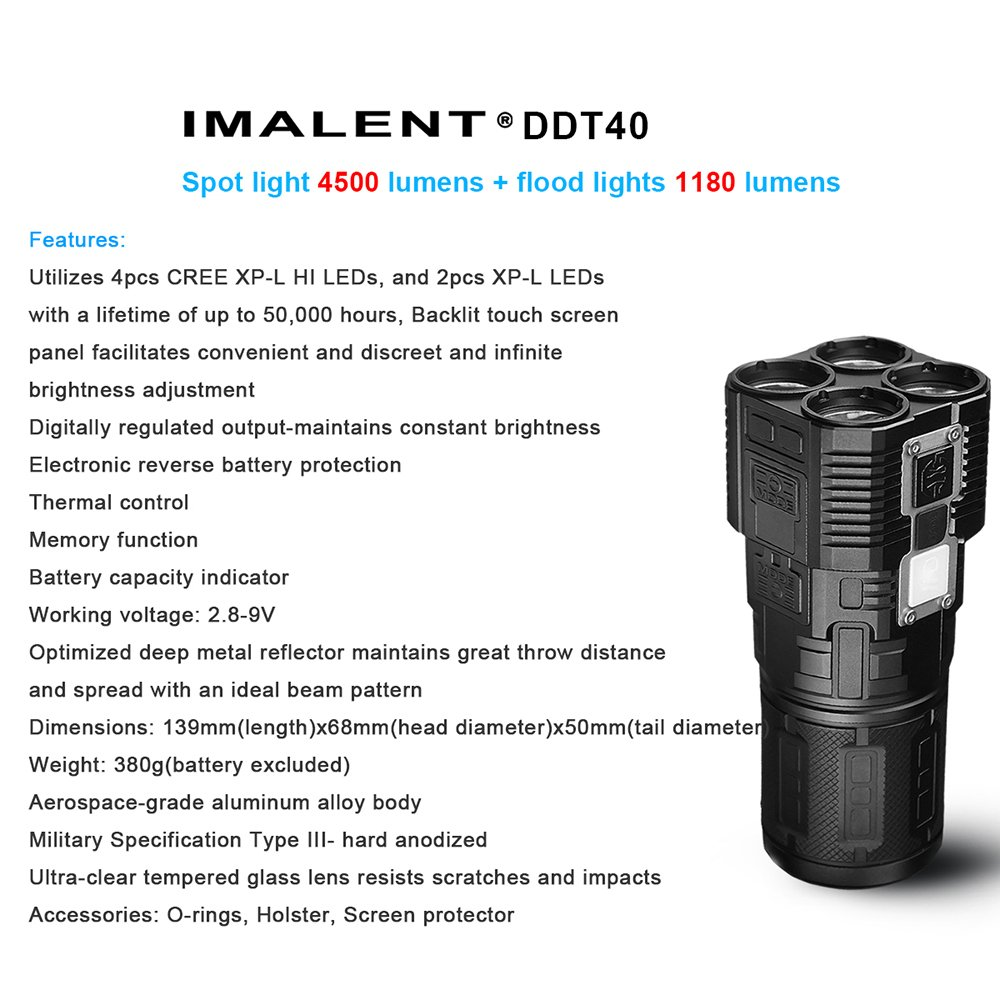 IMALENT DDT40 4200 Lumens +1180 Lumens Flood Light Searching Flashlight for Camping, Running, Hiking,with 18650 Battery by IMALENT (Image #1)
