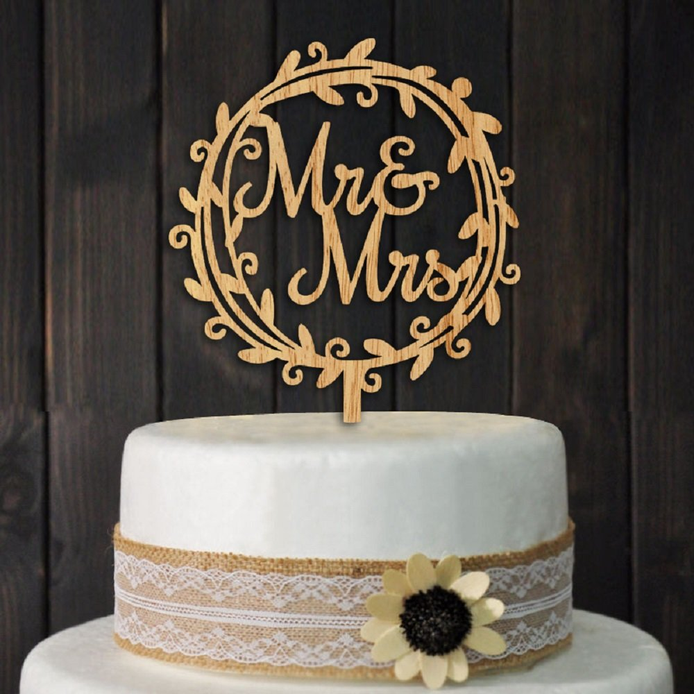 Mr and Mrs Cake Toppers Rustic Wood Wedding Party Engagement Decoration juyue