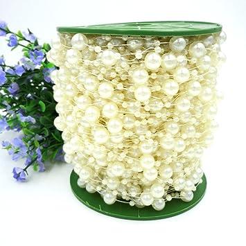 Perlenschnur, Perlenkette Hochzeit 8 mm,10 m Perlenband Perle,Tischdeko