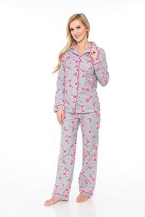 9f3dff7b85 White Mark Women s Flannel Pajama Set 100% Cotton 2-PC PJ Set Sleepwear (