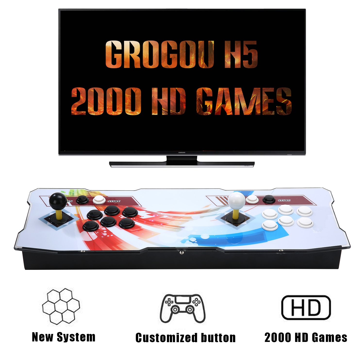 [2000 HD Acrade Games] GroGou H5 Arcade Video Game Console Unique system with 2000 Games, Customeried Buttons and Favourite List Function, 1280x720 Full HD, Advanced CPU
