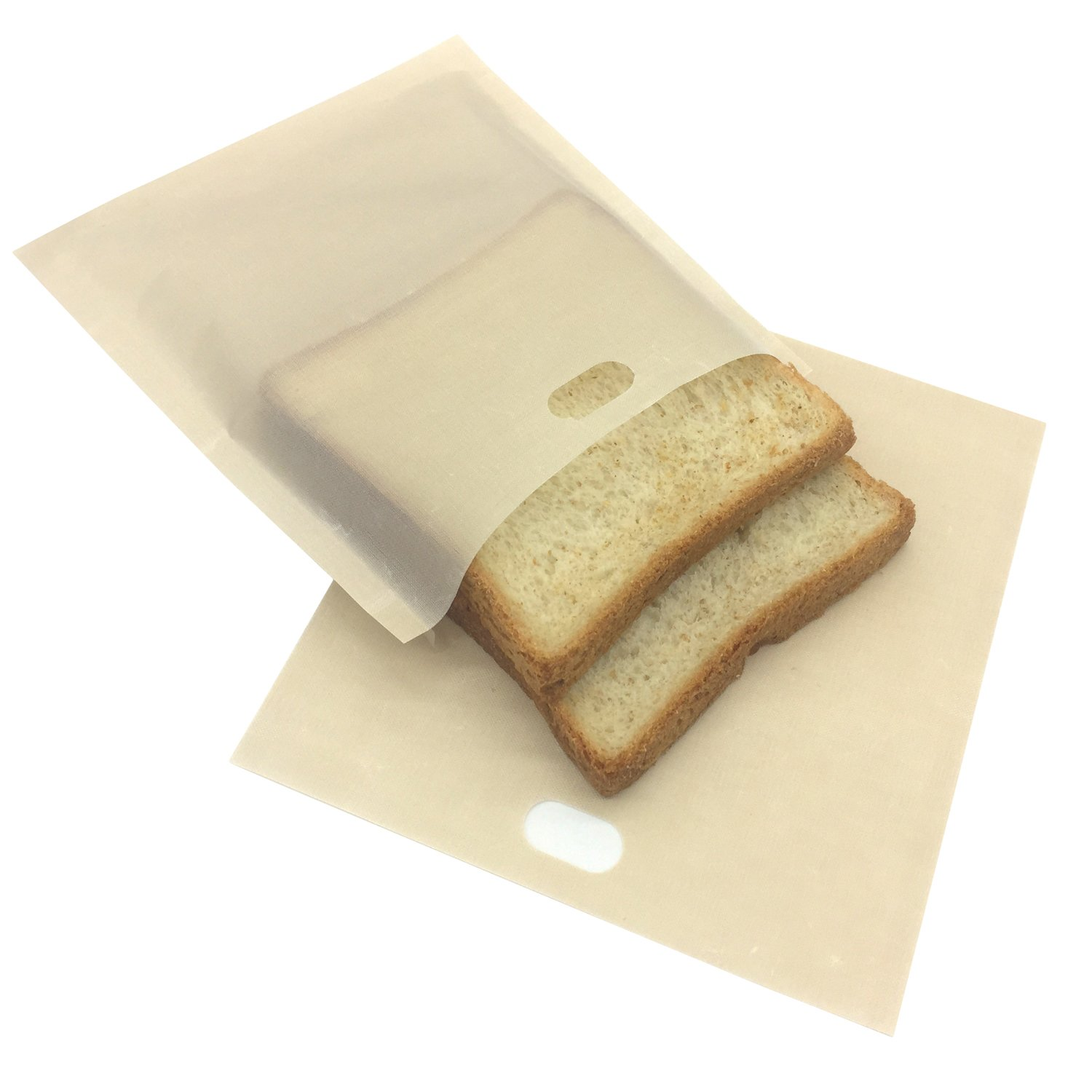 Toaster Bags (Set of 8) by YOUR SMILE 100% Non Stick and Reusable Easy To Clean Perfect For Sandwiches Hot Dogs Chicken Fish Vegetables Panini & Garlic Toast