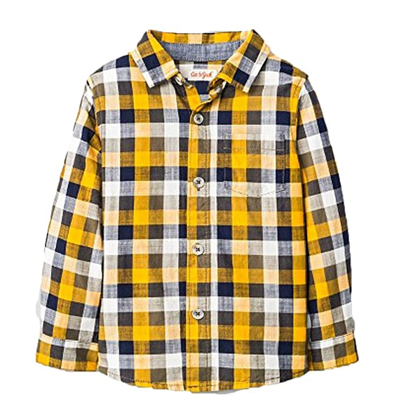 1b85c377 Amazon.com: Cat & Jack Boys Navy Yellow Plaid Shirt (Medium): Clothing
