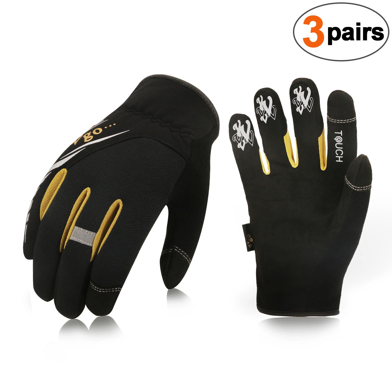 Vgo 3-Pairs High Dexterity Light Duty Mechanic Glove,Rigger Glove(Anti-abrasion,Touchscreen,Size S, Black, SL8853)