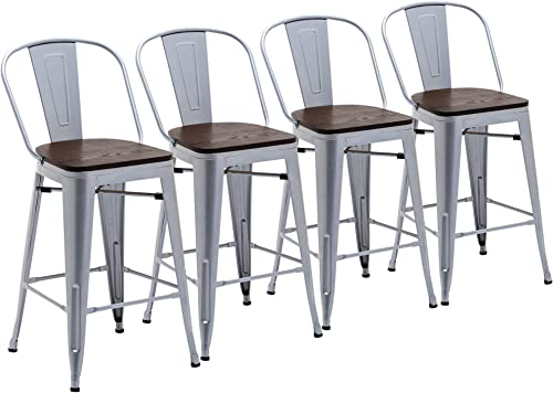 Deal of the week: Yongchuang 24″ Seat Height Metal Bar Chairs Set of 4 High Back Bar Stools