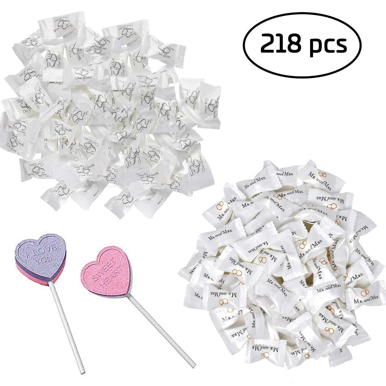 Wedding Candy 218 Pc Bulk Set | 216 Wrapped Buttermints and 2 Bonus Heart Lollipops ● Wedding & Engagement Party Favors - 1 Bag of Two Hearts (108 pc) + 1 Bag of Mr. and Mrs. Mints (108 pc)