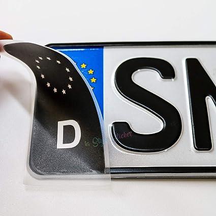 2 Aufkleber Nummernschild Eu Zeichen Schwarz TÜv Aufkleber Plakette Ersatz Sticker Tuning Auto Aufkleber Halter Nummernschild Kfz Auto