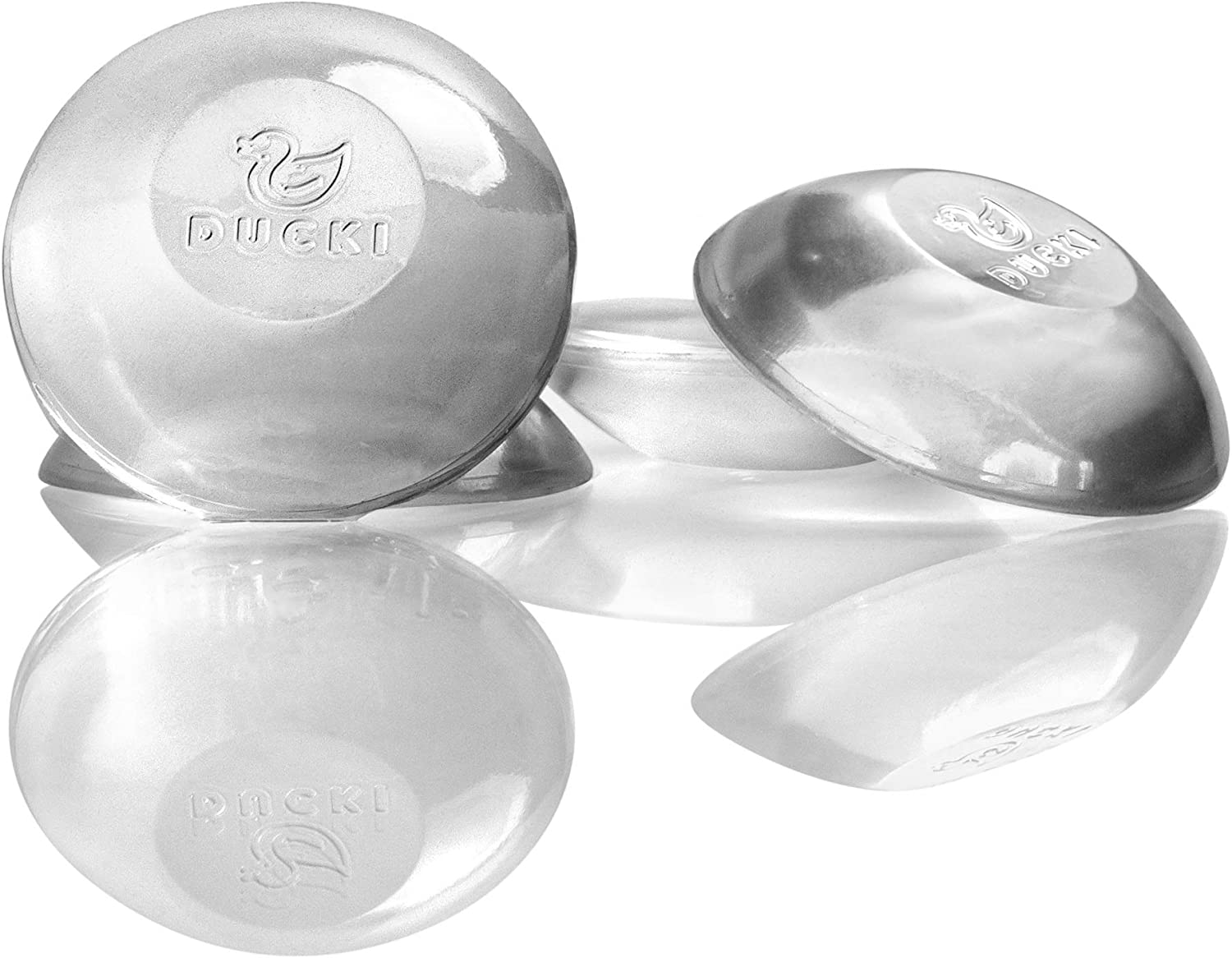 Door Stopper Wall Protector (4pk) - Quiet, Shock Absorbent Gel - Adhesive Reusable Bumper Protector, Wall Shield & Silencer for Door Handle - More Discreet Than a Door Knob Safety Cover (Clear): Home Improvement
