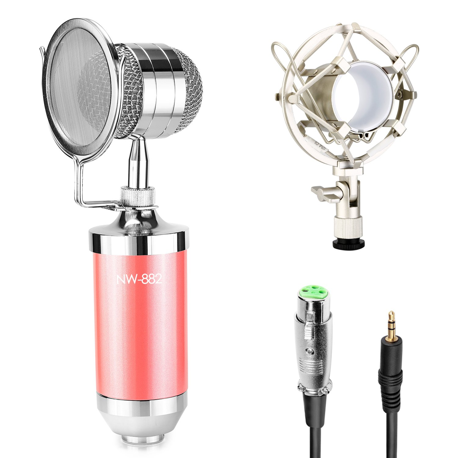 Neewer Cardioid Condenser Broadcasting & Recording Microphone Kit includes: (1)Pink Condenser Microphone with Build-in Pop Filter+(1)Shock Mount +(1)3.5mm Male to XLR Female Cable 10087297@@##1