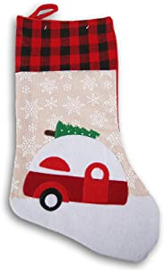 Rustic Little Red Camper Holiday Felt Christmas Stocking - 16 Inch x 8.5 Inch
