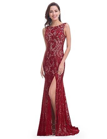 Ever-Pretty Womens Sexy Open Back Long Sleeveless Mermaid Prom Dress 4 US Burgundy