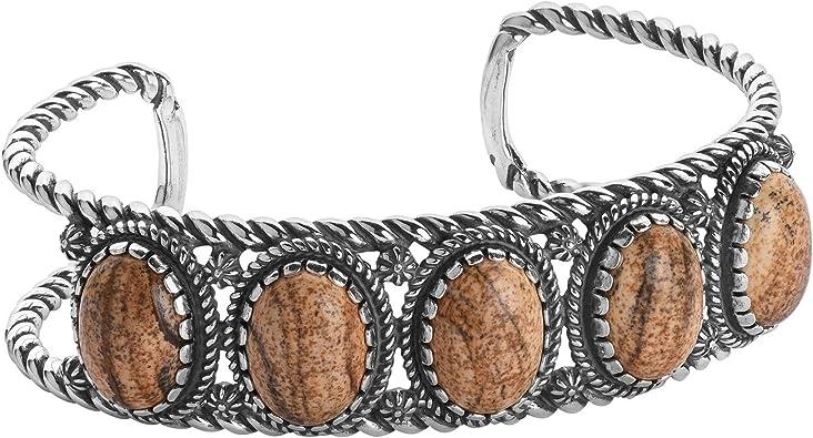M or L American West Sterling Silver Gemstone Floral Cuff Bracelet Size S