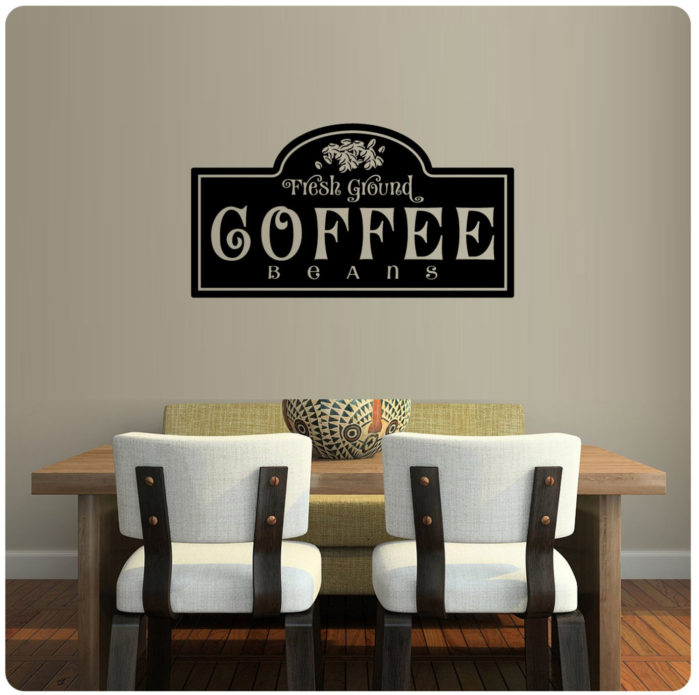 "Amazon ColorfulHall Black 39 4"" X 15 7"" Kitchen Coffee Words"