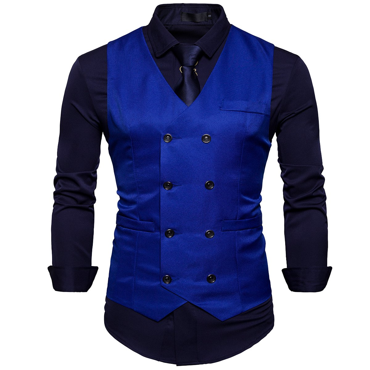 Cottory Men's Classic Double Breasted Slim Fit Waistcoat Vest Dress