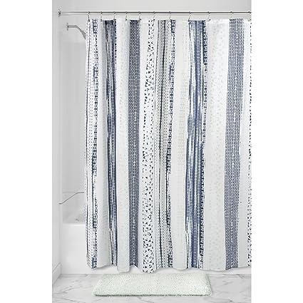 InterDesign Geometric Multi Stripe Fabric Shower Curtain 72quot X