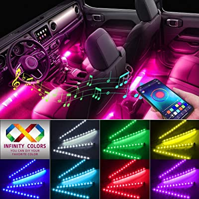 Car Interior Lights, Caferria Car LED Strip Light 4pcs 48 LED App Controller Waterproof Multi DIY Color Music Under Dash Car Lighting Kits with Sound Active Function for Smart Phone, Car Charger DC 12: Car Electronics
