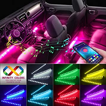 App Controller Car LED Strip Light,Automotive Neon Lights DC 12V Multi Color DIY Music Under Dash Car Lighting with Car Charger Waterproof 4pcs 48 LED Lighting Kits Car Lights Interior