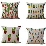 Set of 4 Throw Pillow Covers, YIFAN Tropical Cactus Plants Pattern Polyester Ramie Square Pillow Cover Decorative Cushion Case Pillowcase Home Decor 17.7*17.7 Inch