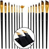 U.S. Art Supply 15 Piece Artist Long Handle Synthetic Paint Brush Set - Multi Functional Watercolor Gouache Oil Acrylic…
