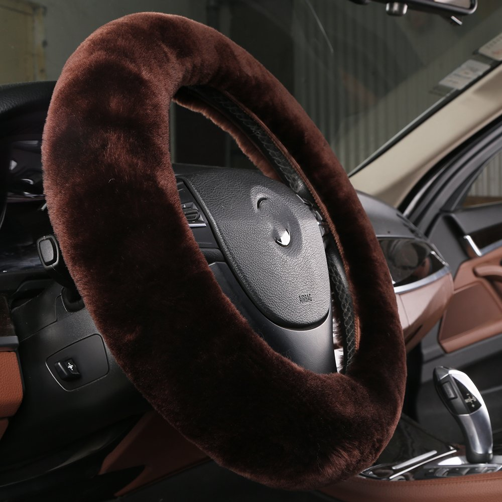 OGLAND Natural Fur Wool Sheepskin Fleece 14 15 16 inch car Steering Wheel Cover,Protector for Universal Steering Wheel 35CM-42CM Anti-Slip,Comforting and Luxurious Ltd Soft Texture Misty Grey Henan Og Land Import And Export Trading Co