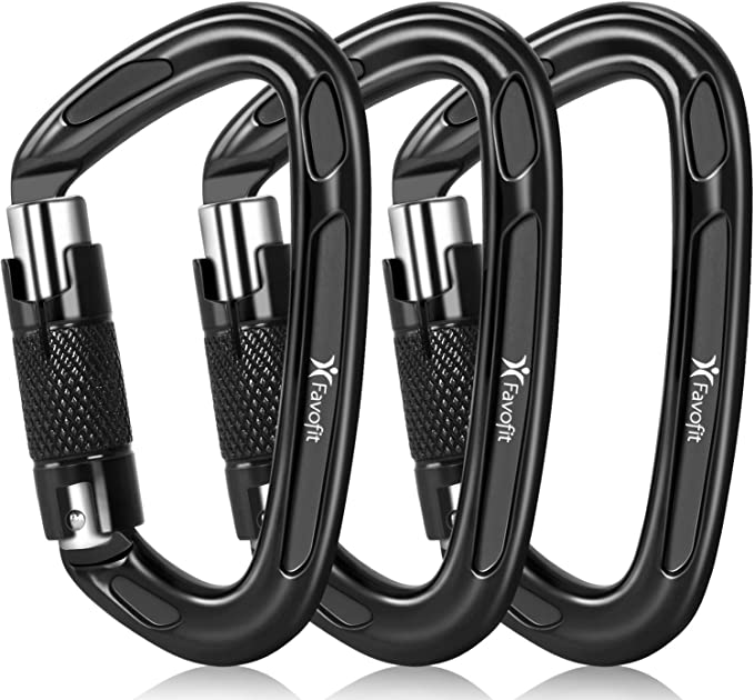 Favofit 12Kn Heavy Duty Carabiner Clips Small Wiregate NEW Caribeaners A9O7