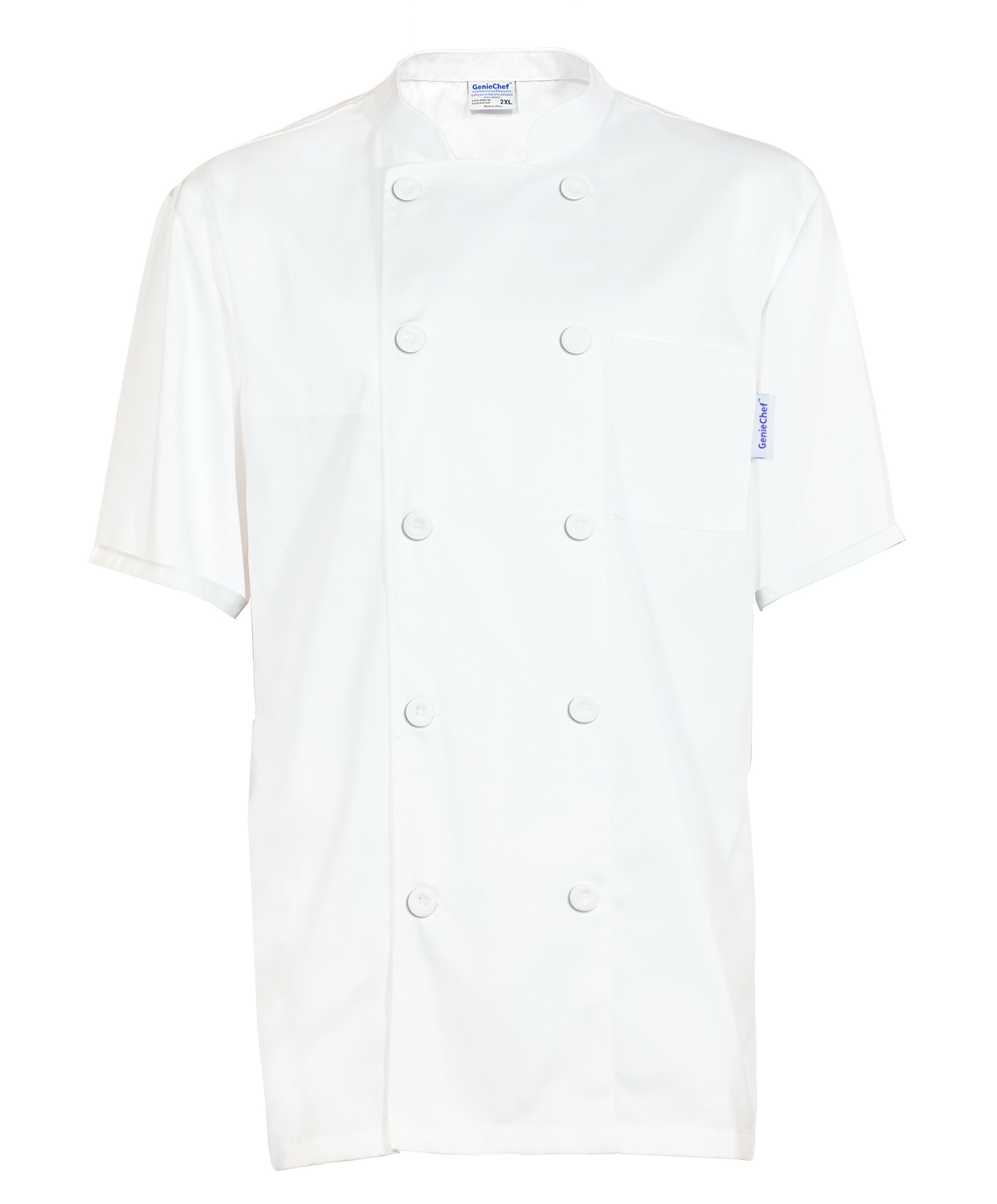 GenieChef Men's Short Sleeve Classic Chef Coat XXXX-L White by GenieChef