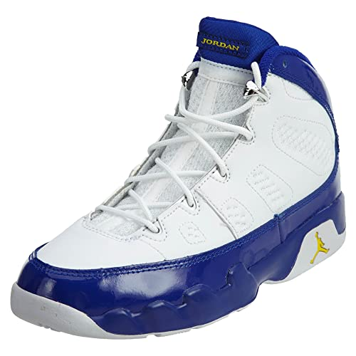 cd0be2784be667 Nike Boys Air Jordan 9 Retro BP Kobe Bryant White Tour Yellow-Concord  Leather
