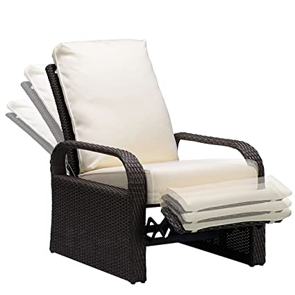 Babylon Outdoor Recliner Wicker Patio Adjustable Recliner Chair With  5.11u0026quot; Cushions And Ottoman,Rust