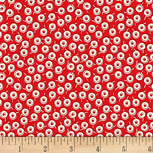 Vintage 30'S Florals Dots Red Fabric By The Yard