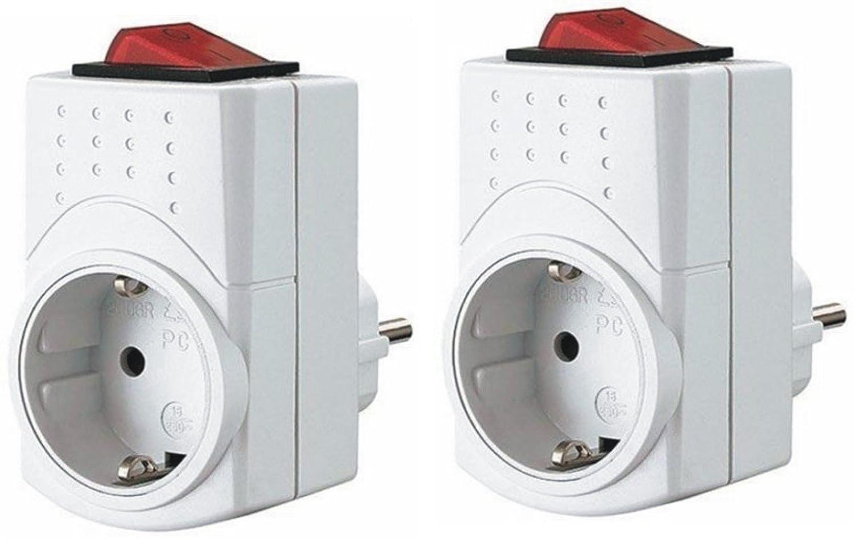 Schutzkontakt Stecker mit beleuchtetem LED Schalter EIN-AUS: Amazon ...