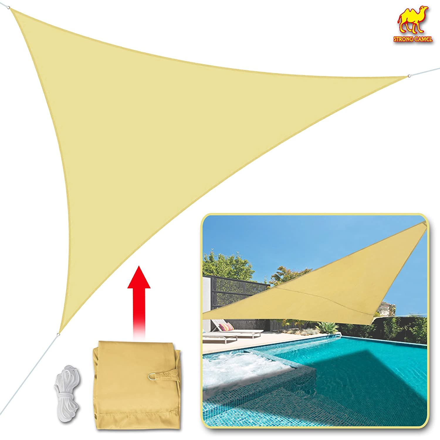 Strong Camel Sun Shade Sail UV Top Cover Canopy 12 Triangle for Outdoor Patio Lawn Backyard Beige
