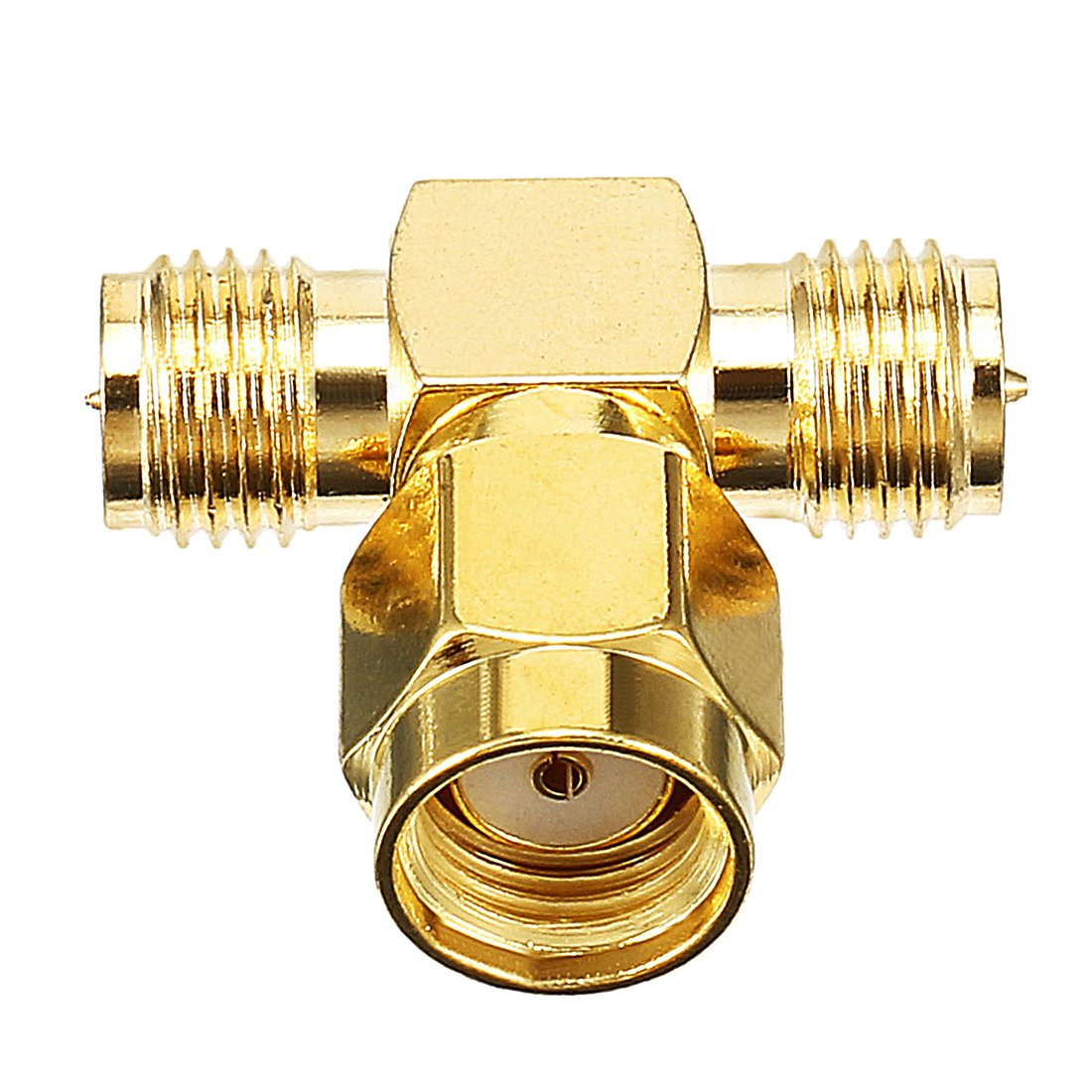 sourcing map Gold Tone 3 Way RP-SMA Male to RP-SMA Female Jack RF Coaxial Connector Joiners