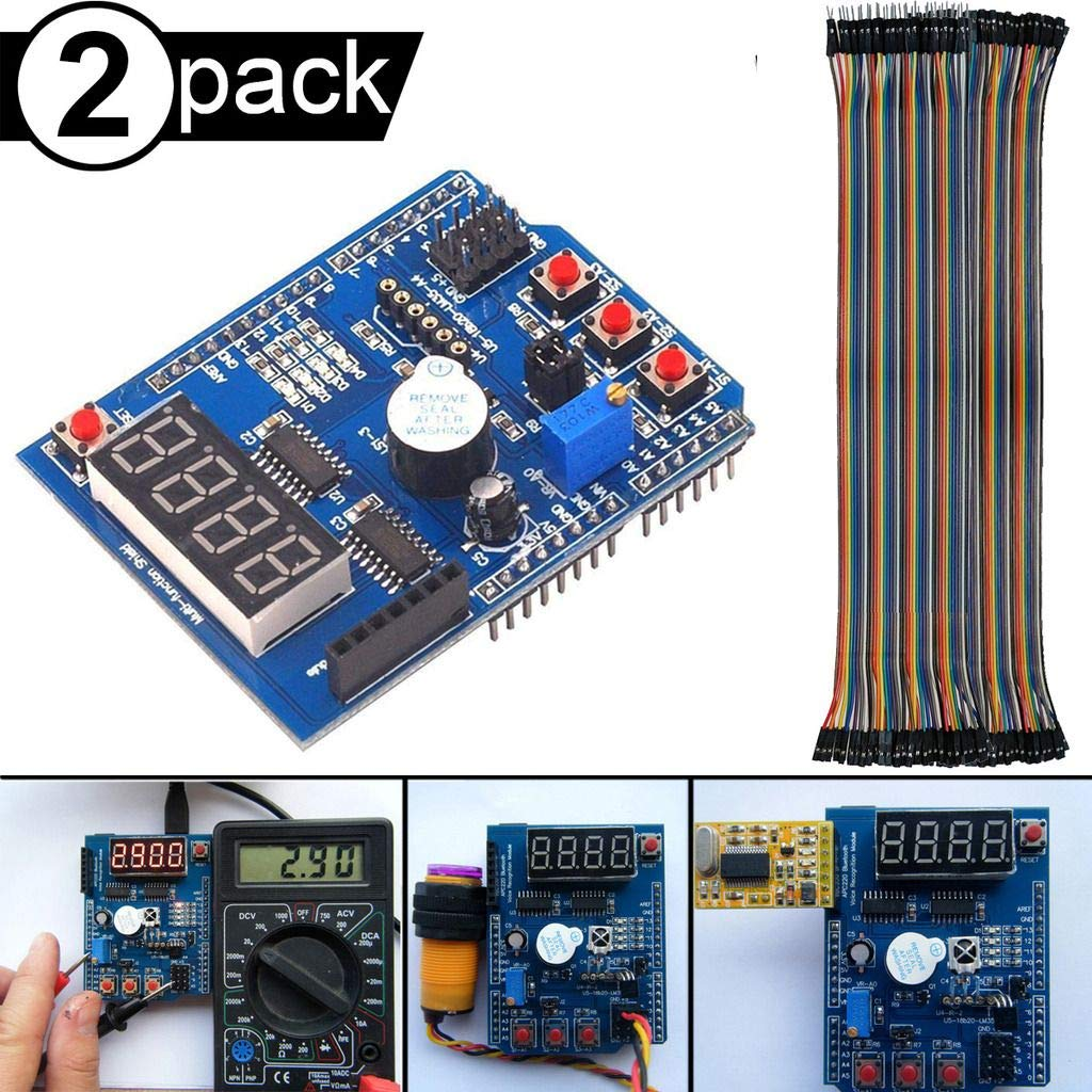 DAOKI 2Pcs Multi-Function Shield Multifunctional Expansion Board Module with Buzzer LM35 4LED with Four Digital Display for Arduino UNO R3 Lenardo Mega2560