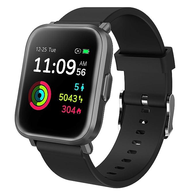 GRDE Reloj Inteligente, Smartwatch Hombre Mujer 5ATM Impermeable Reloj Deportivos con 18 Modos Pantalla Táctil, 24H Monitor de(Ritmo Cardíaco y Sueño) Reloj Fitness con Podómetro para Xiaomi iPhone