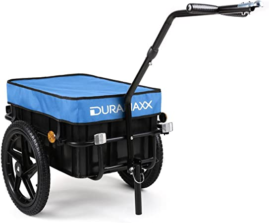 DURAMAXX Big-Mike - Remolque para Bicicleta, Carro, Caja de 70L, Carga máx 40 kg, Enganche esférico para Bicicletas de 26- 28, Estructura de Acero ...