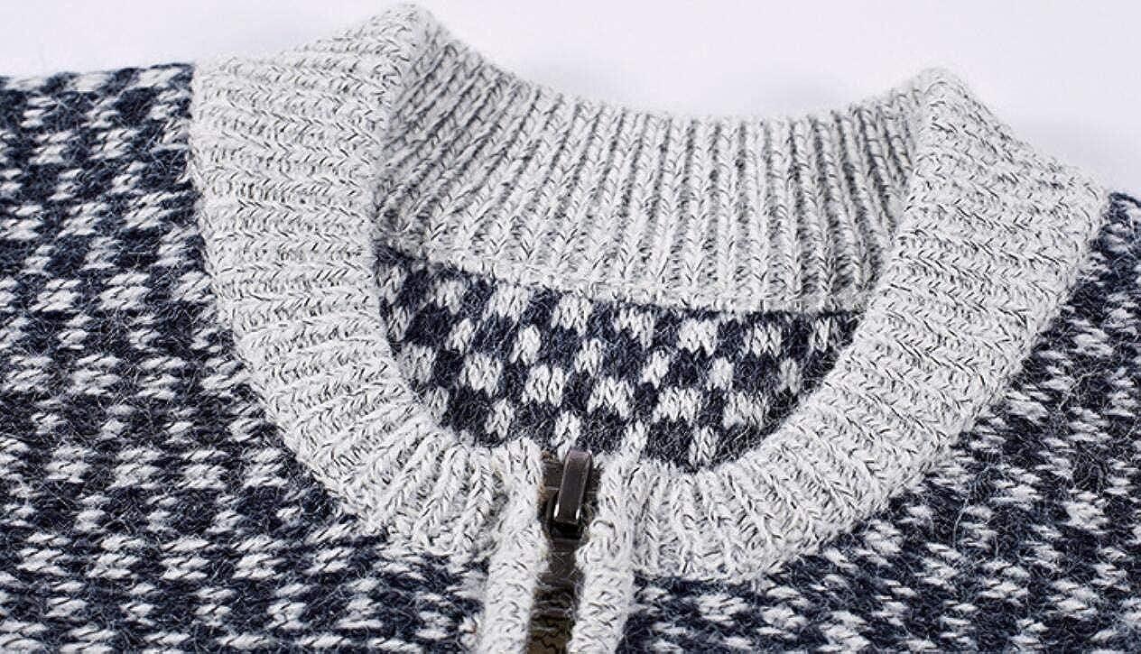 X-Future Mens Stand Collar Stylish Color Block Full Zipper Knit Sweater Cardigan