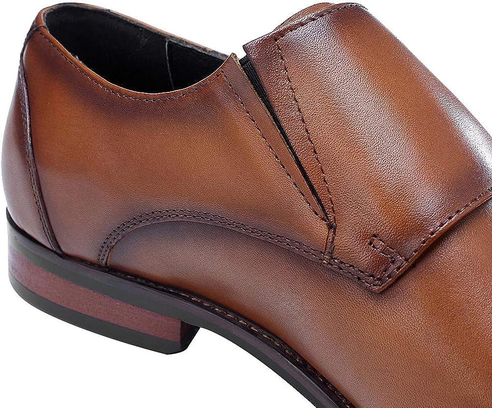 Jamron Hombres Piel Genuina Doble Correa de Monje Zapatos Formal Mocasines de Negocios Oxfords Zapatos de Vestir de Boda