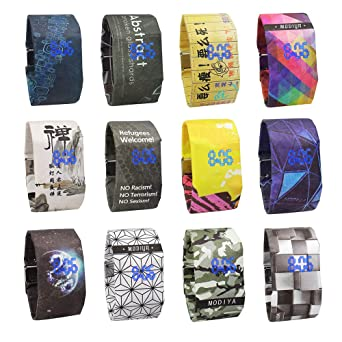 Amazon.com: Digital Wrist Paper Watch for Women and Men, Iuhan Creative Paper Watch LED Waterproof Clock Tyvek Made of Paper Strap Digital Watches Super ...