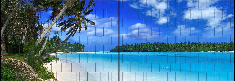 Fluss Panorama XL Bedruckter Sichtschutz Zaun Streifen Doppelstab Matten