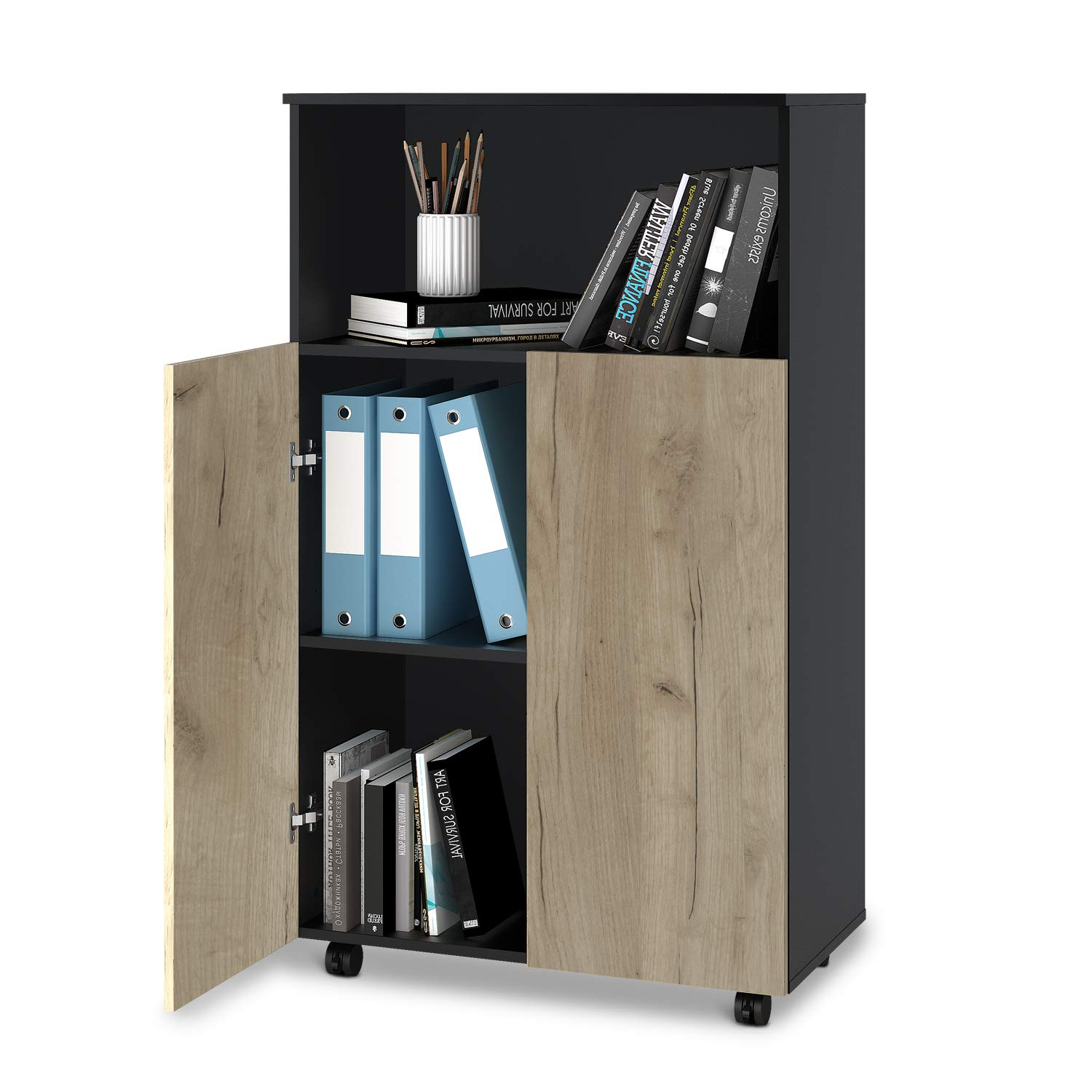 DEVAISE Storage Cabinet with 2 Doors, Mobile File Cabinet with Adjustable Shelf for Home Office