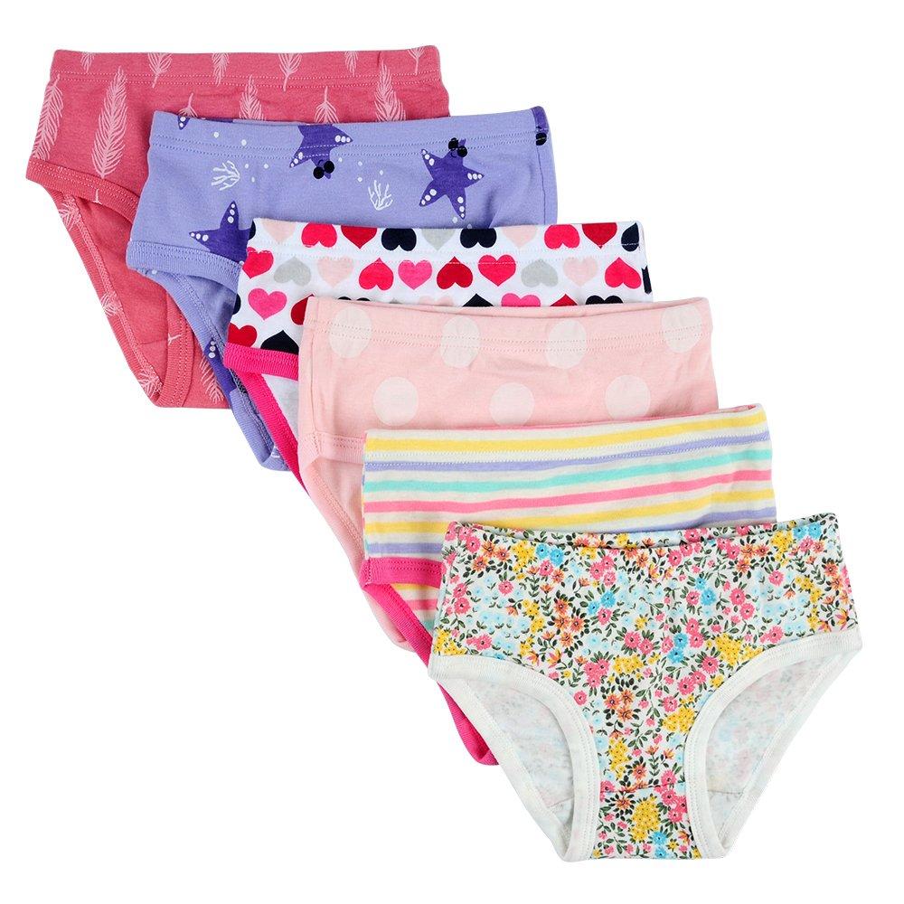 Closecret Kids Underwear Soft Cotton Toddler Panties Little Girls' Assorted Briefs(Pack of 6) (Style 1, 3-4 Years)