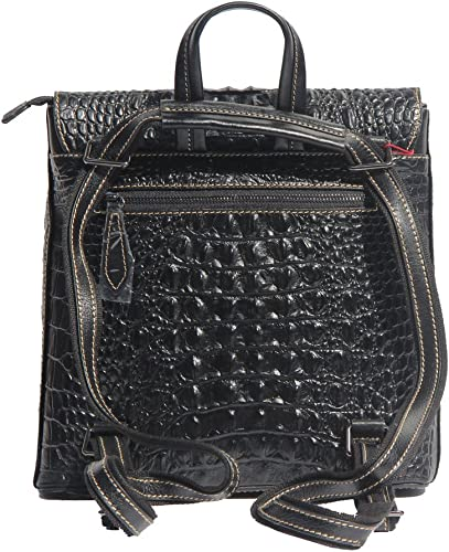 Jsix Real Leather Womens Backpack Bag Crocodile Embossed Black