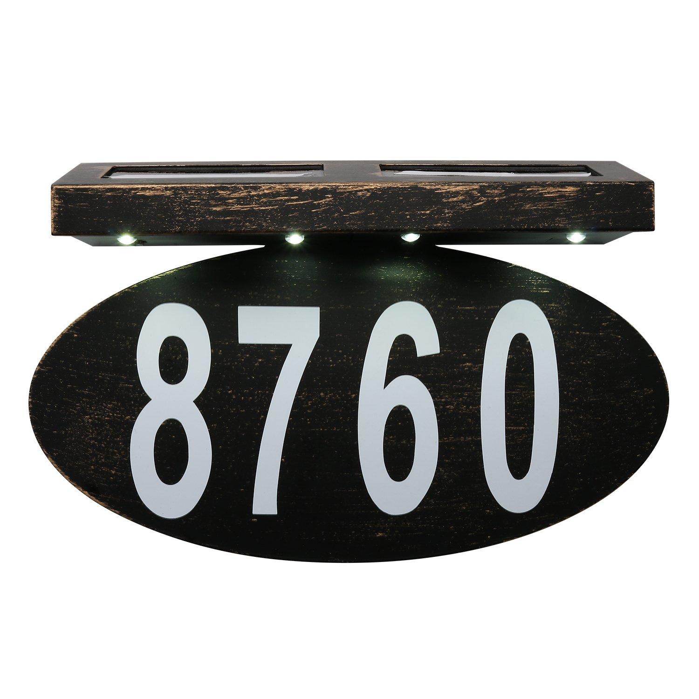 ZUOZUOYA Solar House Number Light, 4 LED, Waterproof Doorplate, Stainless Steel Address Stake by ZUOZUOYA